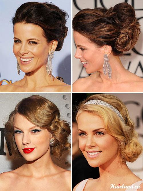 Вечерние прически для вьющихся волос 2012