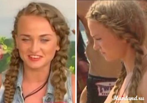 Женя Петрова прически с косами