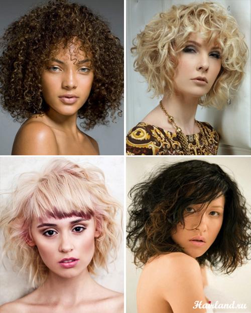 Стрижки для средних вьющихся волос фото