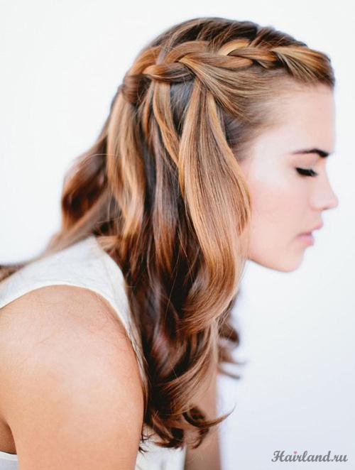 """Коса  """"Водопад """" для длинных волос."""